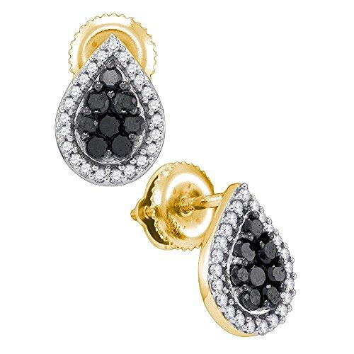 Yellow Gold Womens Round Black Color Enhanced Diamond Teardrop Cluster Stud Earrings 1/2-Carat tw ()