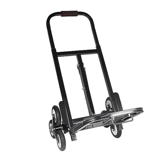 Aluminio de Carro Escaleras, Escalera portátil Carretilla de Mano Carro 330 libras/150kg, Neumático de Caucho Sólido Mochilas de la Carretilla, ...