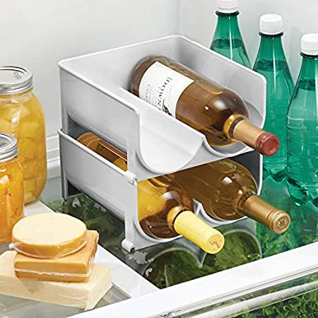 mDesign Juego de 2 Modernos botelleros para Nevera o vinoteca – Botellero apilable de plástico para Botellas de Agua y refrescos – Soporte para Botellas de Vino para Cocina y despensa – Gris Claro