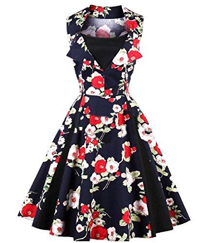 Coolred-femmes Sans Manches Robe Florale Pin-up Imprimé Balle Robe De Soirée As3