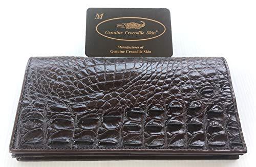 Genuine Real Crocodile Backbone Skin Leather Checkbook Long Dark Brown Wallet