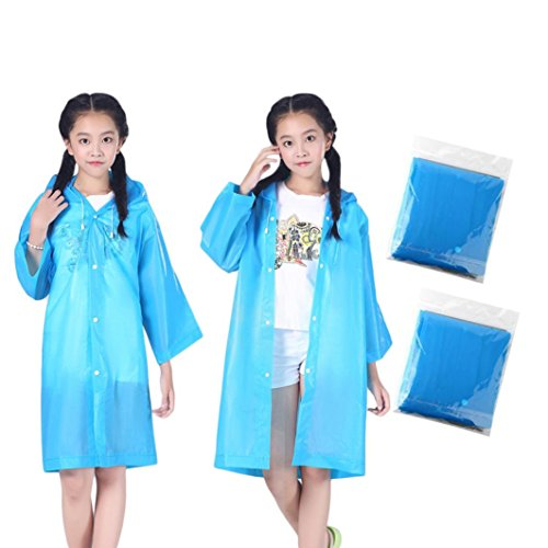 Belloc 2 Pack Kids Rain Poncho - Blue Portable Raincoat Rainsuit with Drawstring Hood and Sleeves Cover Long Rainwear Outdoor Accessory for Children Travel, Picnic, Camping