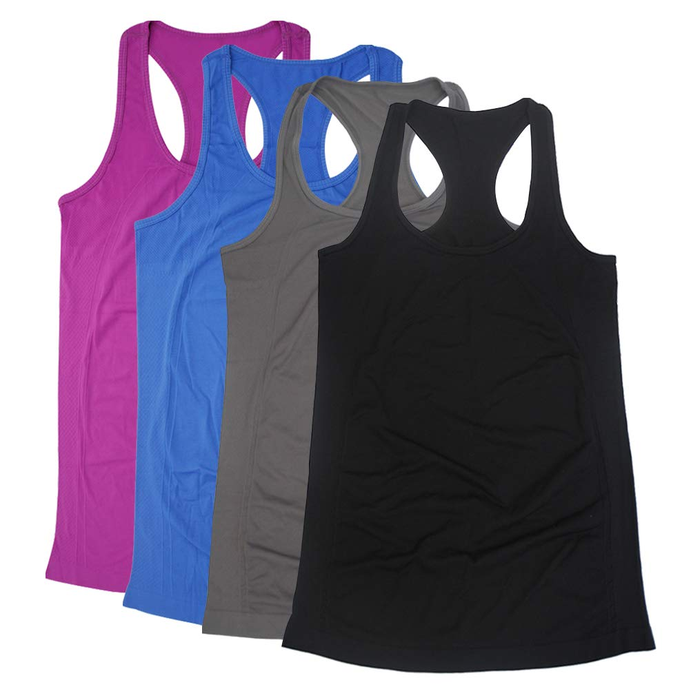 BollyQueena Racerback Tank for Juniors, Women's Long Workout Top Active Tank Top for Womens 4 Packs Multicoloured S