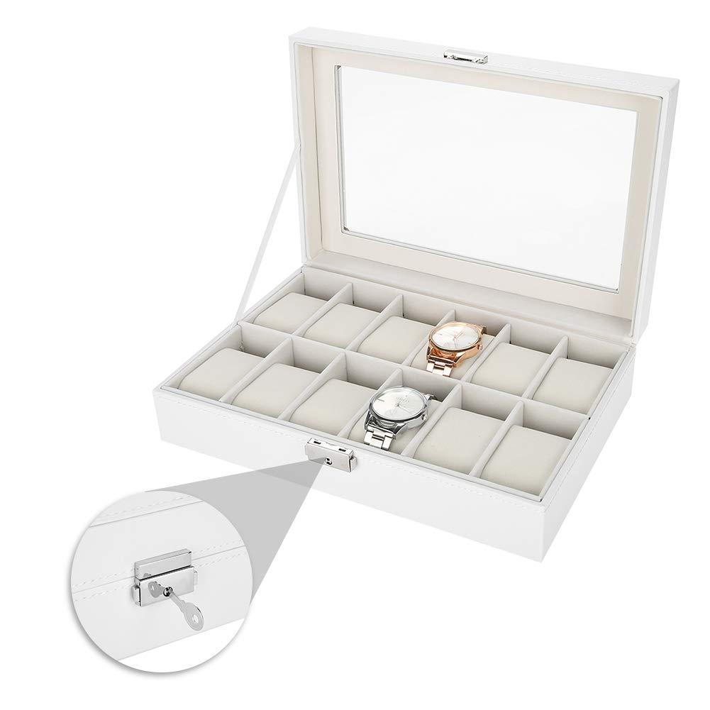 12 Grids Caja de Almacenamiento de Relojes Blanco, Estuche ...