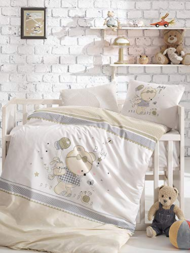 5 Pieces 100% Cotton Baby Boys Bedding Set, Baby Duvet Cover Set, Baby Comforter Included, Teddy Bear Themed Crib Bedding Set, Beige from Bekata