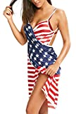 Womens Dresses Summer Bikini Cover Ups Swimsuit Beach Sexy American USA Flag Sleeveless Backless Dress Wrap (S)