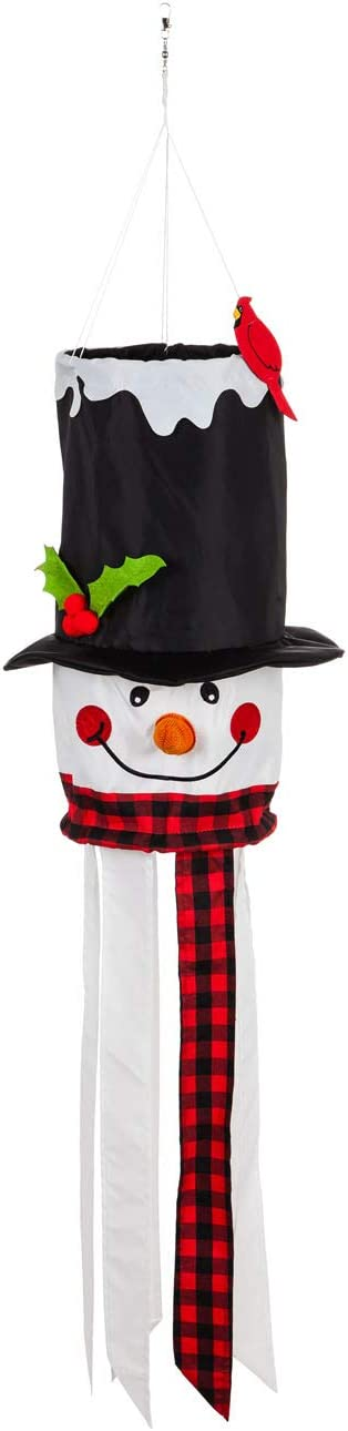 Evergreen Flag Indoor Outdoor Décor for Homes Gardens and Yards Snowman 3D Windsock