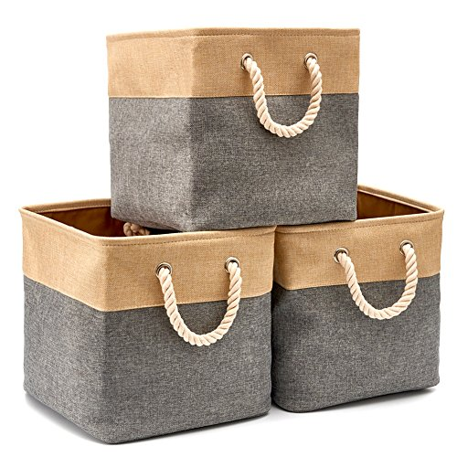 (EZOWare 3-Pack Collapsible Storage Bins Basket Foldable Canvas Fabric Tweed Storage Cubes Set with Handles for Babies Nursery Toys Organizer (13 x 13 x 13 inches) (Gray/Beige))