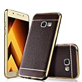 Excelsior Premium Silicon and leather back cover case for Samsung Galaxy A7 2017 Edition - Coffee