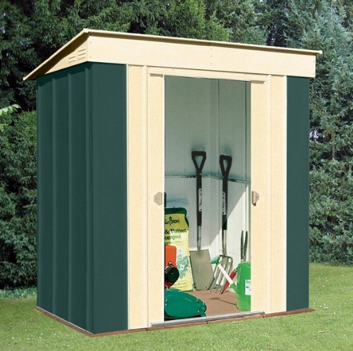 Canberra seis - Alta calidad Pent Metal caseta de jardín de acero con techo tamaño de 6 ft x 4 ft (184 x 123 cm): Amazon.es: Hogar