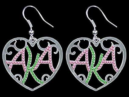 Alpha Kappa Alpha (AKA) Sorority Color Crystal Filigree Heart Earrings