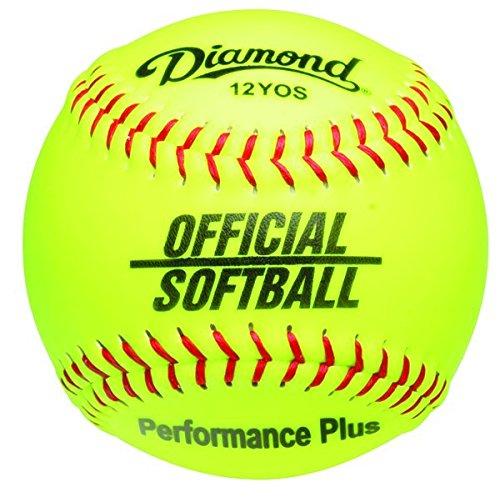 Diamond 12-Inch Synthetic Optic Cover Softball, Cork Core, Dozen