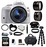 Canon EOS Rebel SL1 DSLR Camera with EF-S 18-55mm f/3.5-5.6 IS STM Lens (White) plus 58mm Lens Bundle and 32GB Deluxe Accessory Kit