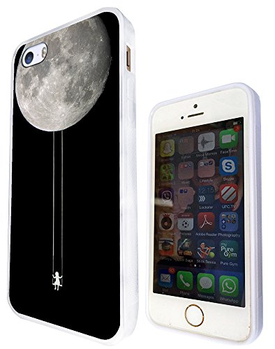 326 - Swinging Girl Hanging From Moon Design iphone SE - 2016 Fashion Trend Protecteur Coque Gel Rubber Silicone protection Case Coque - Blanc