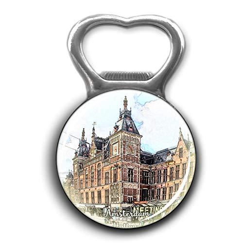 Centraal Station Amsterdam Holland Netherlands Opener Metal Fridge Magnet Crystal Glass Round Beer Bottle Opener City Souvenir Home Kitchen Decoration Gifts