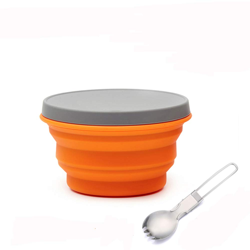 KnvcDey Silicone Collapsible Bowl,Camping Hiking Portable Travel Food Storage containers Lunch bento Box bpa Free Microwave Dishwasher and Freezer Safe Space-Saving-Orange A 500ml by KnvcDey