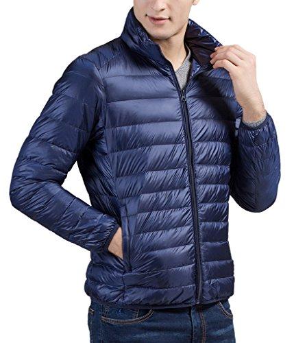 Chaude Doudoune Veste Longues Pour Zipée Manches Pliable Homme Marine Duvet Acmede Ultra Bleu Légère D'hiver Manteau 54qnBq