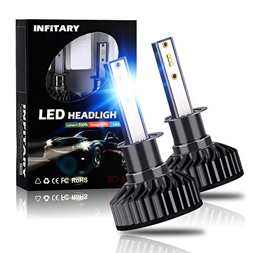 - INFITARY H1 LED Headlight Bulbs Conversion Kit All-in-One 10000LM 6500K ZES High Low Hi/Lo Beam Super Bright Cool White Fog Light Plug Play Car Motorcycle Replacement LED Auto Headlamp 3Yrs Warranty