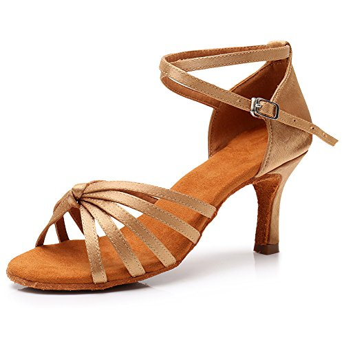 SWDZM Dance Model Shoes Heel LP217 Standard Latin Ballroom 7cm Women Beige TraHfT