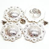 """Set of 4, 1-1/2"""" Saddle Bright Silver Round Berry Concho W/ 1/4"""" Chicago Screw Back"""