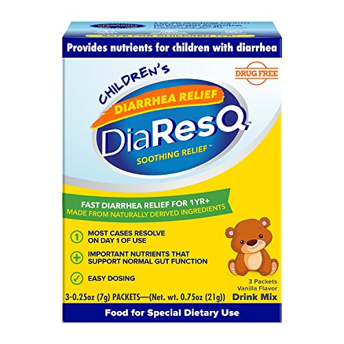 DiaResQ Childrens Soothing Diarrhea Relief - (Vanilla, 3 ct) Fast-Acting Diarrhea Relief that is Safe, Drug-Free, and Effective in Relieving Diarrhea for Children 1 Yr. and Older