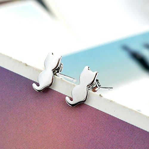 Lureme® X'mas chat de haute qualité oreille en forme de boucles d'oreilles (pyramide cube cercle) - ton argent (02004567-1)