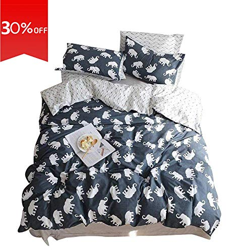 VClife Queen Full Cotton Bedding Duvet Cover Sets Reversible Soft Bedding Sets Geometric Pattern Bedding Comforter Cover Sets - 3 PCS Hotel Quality Bedding Collection, Soft, Hypoallergenic, Queen Full - Elephant Sheets