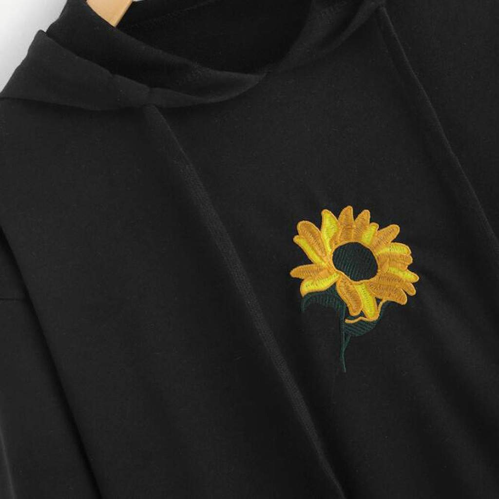 Samojoy Sunflower Embroidery Hoodie for Women Black Crewneck Pullover Sweatshirt Tops Long Sleeve Autumn Winter Outfit