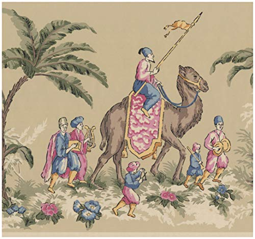 (Prepasted Wallpaper Border - Vintage Riders on Camel Elephant Beige Wall Border Retro Design, Roll 15 ft. x 10 in.)
