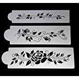 Stencils for Cake Designs - Rose Wine set of 3 - Ideal for Cake Decorating and Craft