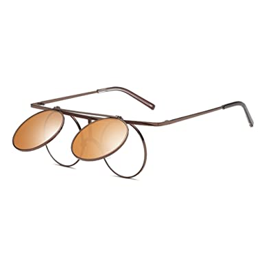 Juleya Steampunk Round Lens Métal Cadre Flip-up Lunettes de soleil pour Hommes Femmes C5 Hkp1WiAA