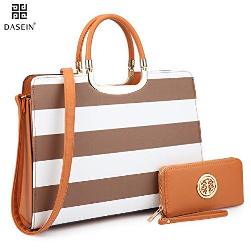 Dasein Designer Purse Stripes Satchel Handbag PU Leather Purse Top Handle Handbags (XL2828 stripe 2PCs- Coffee/White)