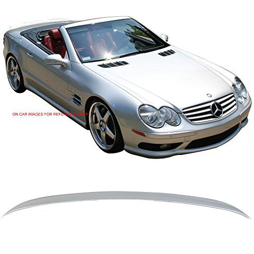 Pre-painted Trunk Spoiler Fits 2003-2011 Mercedes Benz SL-Class R230   AMG Style ABS #762 Diamond Silver Metallic Rear Deck Lip Wing Bodykits by IKON MOTORSPORTS   2004 2005 2006 2007 2008 2009 2010