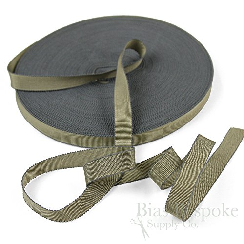 (3 Yards of Vera 9/16'' Cotton & Viscose Petersham Grosgrain Ribbon, Gray Taupe, Made in Italy)