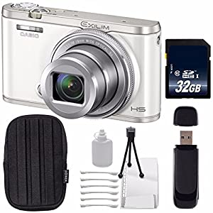 Casio EXILIM EX-ZR5000 12.1MP Digital Camera (White) + 32GB SDHC Class 10 Memory Card + SD Card USB Reader + Small Case + Deluxe Starter Kit Bundle