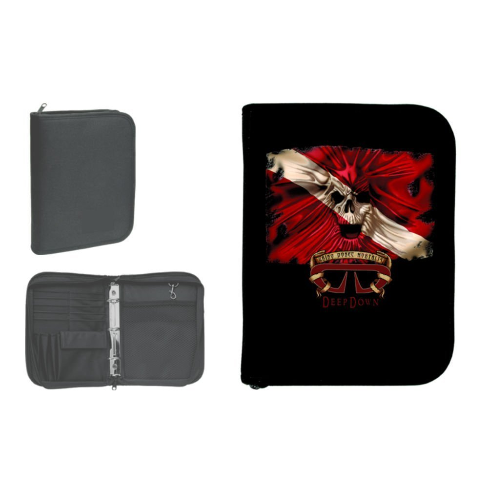 New Scuba Diving 3 Ring Zippered Log Book Binder with FREE Generic Log Insert ($12.95 Value) - Skull on Flag (Deep Down)