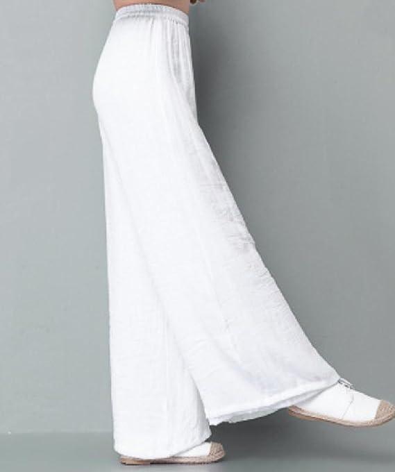 dc6b7de658 SportsX Women Loose Folk Style Retro Linen Cotton Palazzo Beach Pants  Casual Trousers - White -: Amazon.co.uk: Clothing