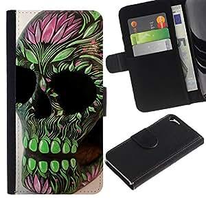 All Phone Most Case / Oferta Especial Cáscara Funda de cuero Monedero Cubierta de proteccion Caso / Wallet Case for Apple Iphone 5 / 5S // Green Pink Skull Floral Spring Death