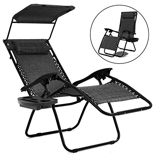 Hynawin Zero Gravity Chair Lounge Chair Outdoor Yard Beach with Pool w/Cup Holders - Gray by Hynawin