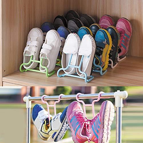 Allegro Huyer Plastic Hangers 2PCS/Set Multi-Function Children Kids Shoes Hanging Storage Shelf Drying Rack Shoe Rack Stand Hanger Wardrobe Organizer #L ()