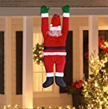 "Life Size 65"" Gutter Hanging Santa Claus Santa Suit Outdoor Christmas Yard Decor"
