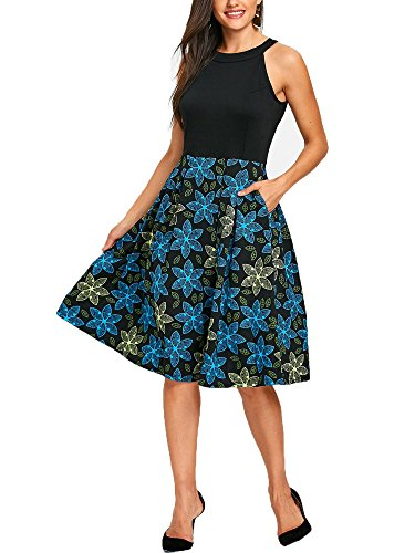- oxiuly Women's Vintage Sleeveless Halter Neck Floral Patchwork Pockets Casual Loose Party Swing Dress OX257 (XL, Black)