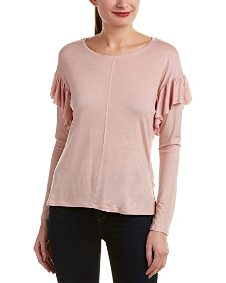 23e95a33fe2e81 Two by Vince Camuto Womens Heathered Ruffled Casual Top Pink S at Amazon  Women's Clothing store: