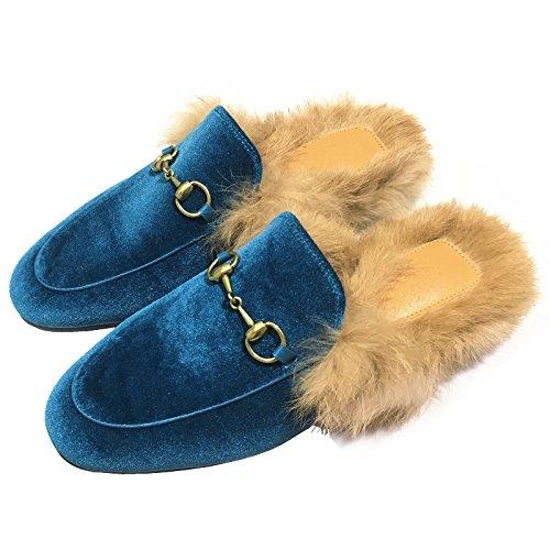 Caduta fankou piatto scarpe donna pigri con bassa ,36, blu pantofole