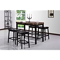 Best Quality Furniture 5-piece Faux Marble Counter Height Dining Set with 4 Stools