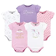 Hudson Baby Baby Cotton Bodysuits, Unicorn Pack, 3-6 Months