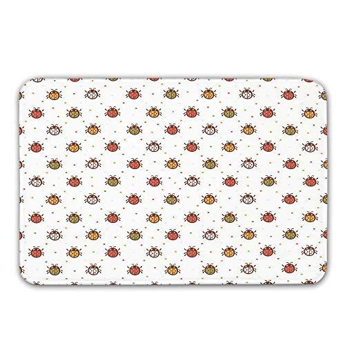 TecBillion Ladybugs Non Slip Door Mat,Pastel Color Vintage Stylized Faded Bugs Setting Nostalgic Good Luck Childhood Theme Doormat for Front Door Indoor,31.5