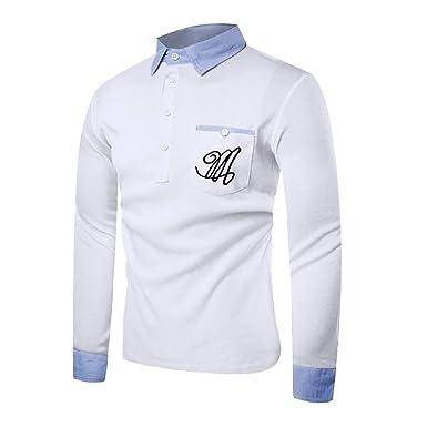 UJUNAOR Männer T-Shirt Brief Langärm Shirt für Geschäftliche Hochzeit  Formal Bluse Top Baumwollmischung  Amazon.de  Bekleidung 6bf23d5539
