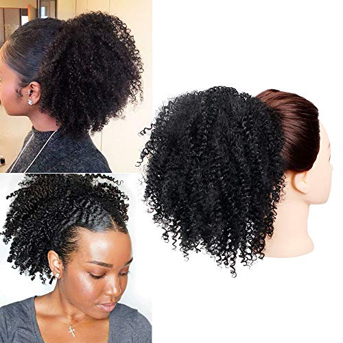 GX Beauty Synthetic Ponytail Afro Puff Kinky Curly Drawstring Ponytail for Black Women African American Kinkys Curly Drawstring Puff Hairpiece(Black)