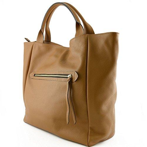Shopper Pour Femme En Cuir Véritable Avec Poignées Renforcées Couleur Cognac - Maroquinerie Fait En Italie - Sac Femme